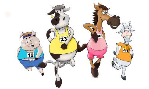Animals running toon
