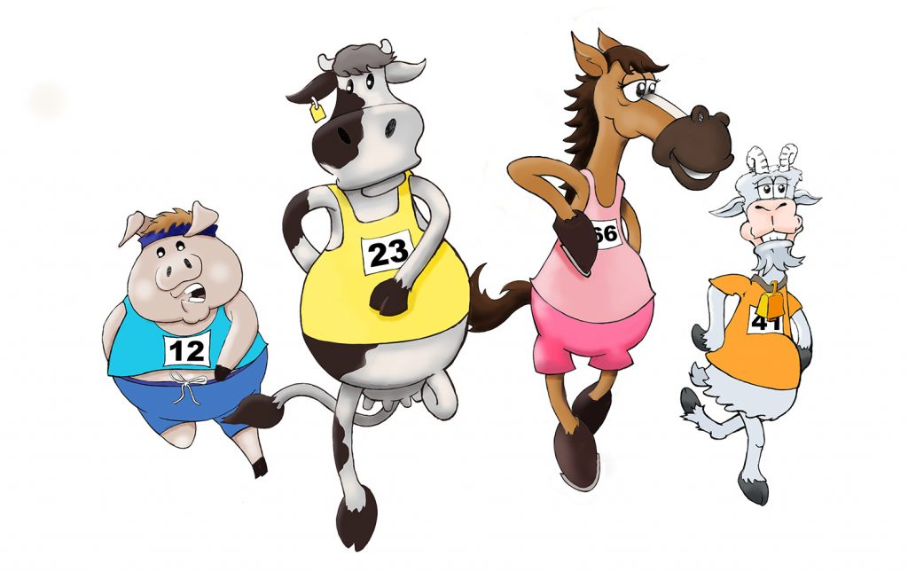 Animals running toon