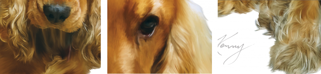Close up dog painting details